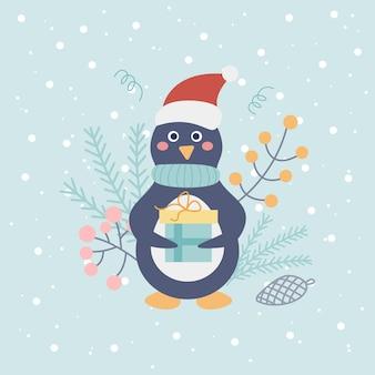 Pinguim fofo com chapéu de papai noel com presente sobre fundo claro com flocos de neve e elementos decorativos
