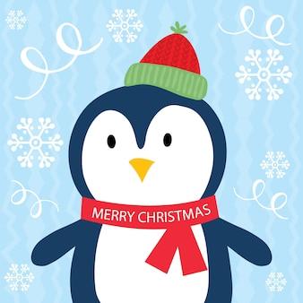 Pinguim fofo com fundo azul congelado