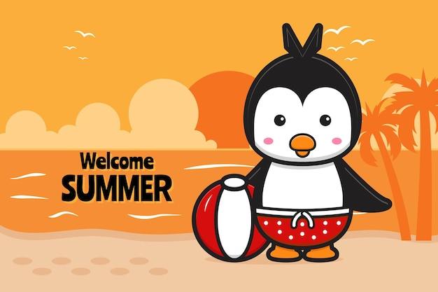 Pinguim fofo com uma ilustração do ícone dos desenhos animados de banner de saudação de verão