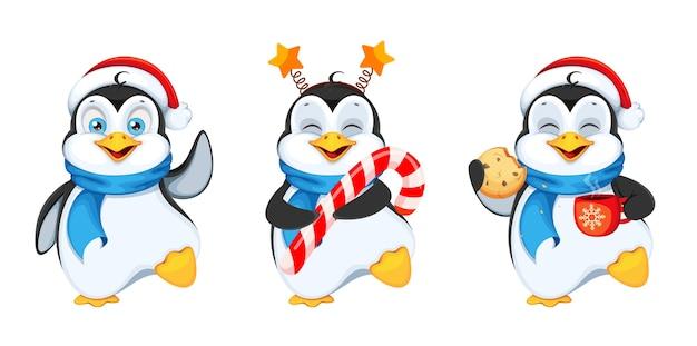 Pinguim fofo, conjunto de três poses