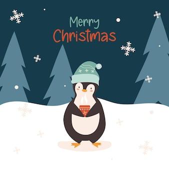 Pinguim fofo de natal com chapéu de papai noel e bebida quente