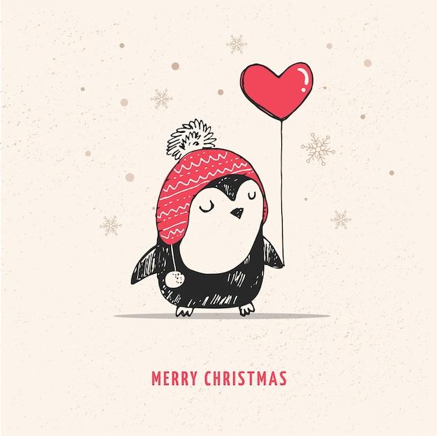 Pinguim fofo desenhado à mão com balão de coração vermelho