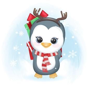 Pinguim fofo e caixa de presente no inverno. ilustração de natal