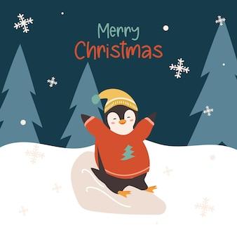 Pinguim fofo e feliz com um suéter de inverno rolando colina abaixo