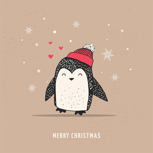 Pinguim fofo e feliz - feliz natal