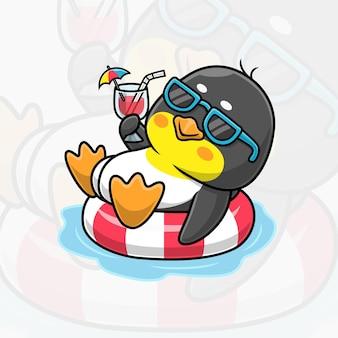 Pinguim fofo em desenho animado de verão