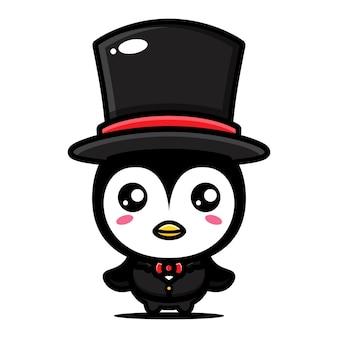 Pinguim fofo em estilo clássico