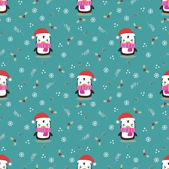 Pinguim fofo no padrão sem emenda do tema de natal