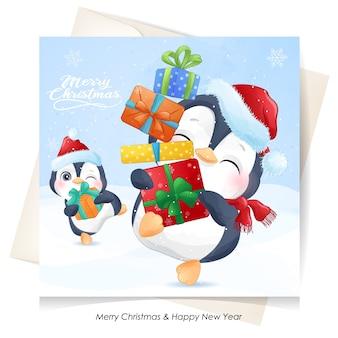 Pinguim fofo para o natal com cartão em aquarela