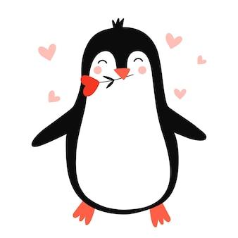 Pinguim fofo pinguim apaixonado ilustração vetorial desenhada à mão para impressões românticas dia dos namorados