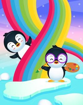 Pinguim fofo pintando arco-íris com pinguim feliz