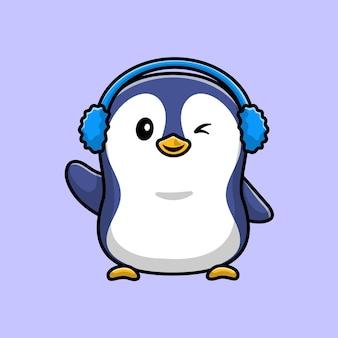 Pinguim fofo usando protetor de orelha, personagem de desenho animado