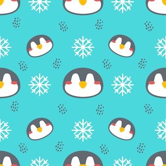 Pinguim fofo vetor animal sem costura de fundo
