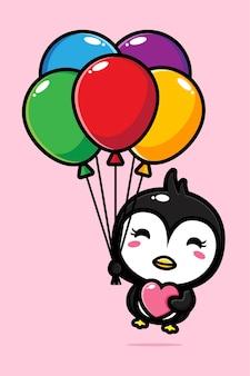 Pinguim fofo voando com balões coloridos