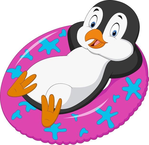 Pinguim macho dos desenhos animados que relaxa no anel inflável