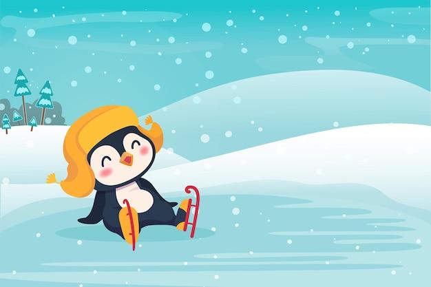 Pinguim patinação no gelo ao ar livre. ilustração do conceito de esporte e lazer