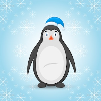 Pinguim polar no chapéu do papai noel em um fundo azul de inverno com flocos de neve