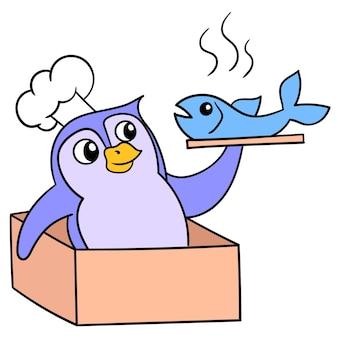 Pinguim sai da caixa carregando um menu de peixes cozidos, arte de ilustração vetorial. imagem de ícone do doodle kawaii.