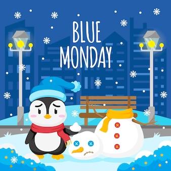 Pinguim triste na segunda-feira azul