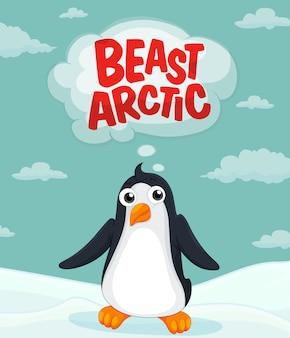 Pinguim vivendo no ártico