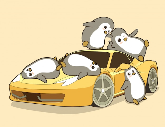 Pinguins de kawaii e carro desportivo amarelo.