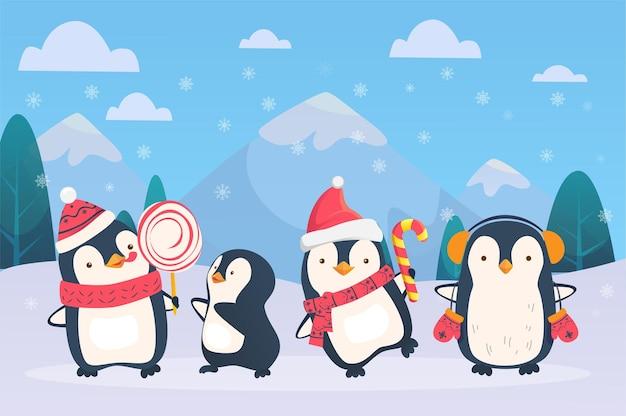 Pinguins de natal em fundo nevado. ilustração em vetor pinguins dos desenhos animados.