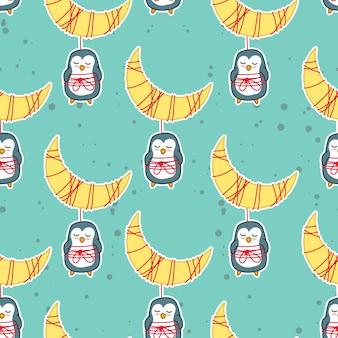 Pinguins e lua no padrão de sonho doce.