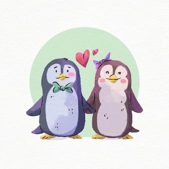 Pinguins em aquarela do dia dos namorados apaixonados