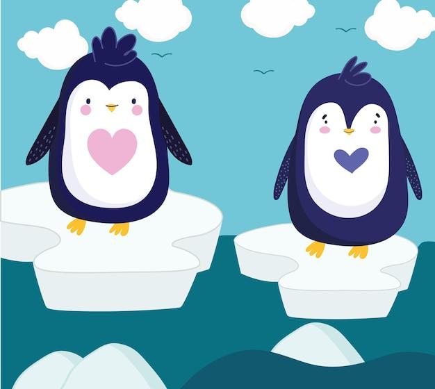 Pinguins em pé de água gelada no inverno