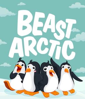 Pinguins em pé no gelo
