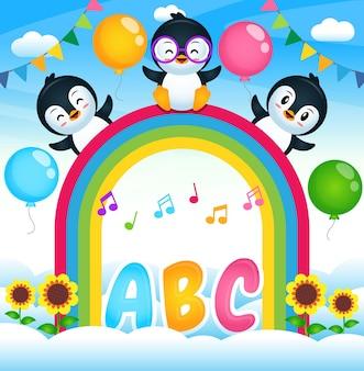 Pinguins felizes no rainbow sky garden