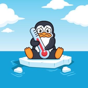 Pinguins flutuam no oceano os efeitos do aquecimento global
