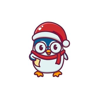 Pinguins fofos celebrando o natal
