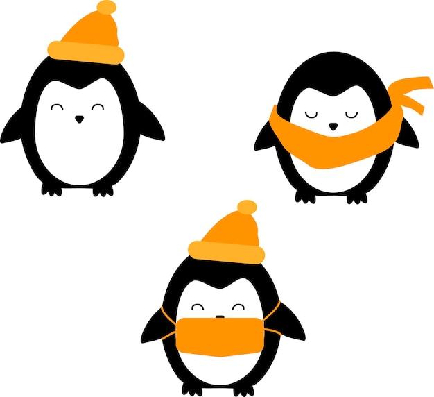 Pinguins fofos conjunto ilustração vetorial de natal isolada no fundo branco