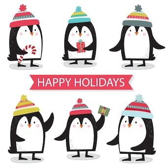 Pinguins fofos define desenhos animados de coleção, personagem fofa de natal