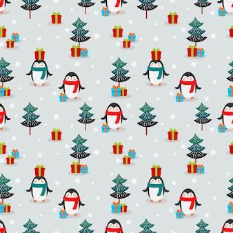 Pinguins fofos e padrão sem emenda de presente de natal.