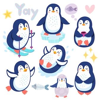 Pinguins fofos esquiando se divertindo bebendo chá personagens engraçados