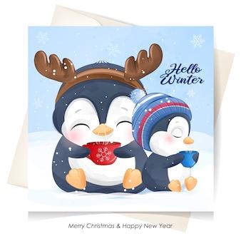 Pinguins fofos para o dia de natal com cartão em aquarela