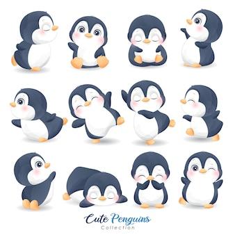 Pinguins fofos para o dia de natal com ilustração em aquarela