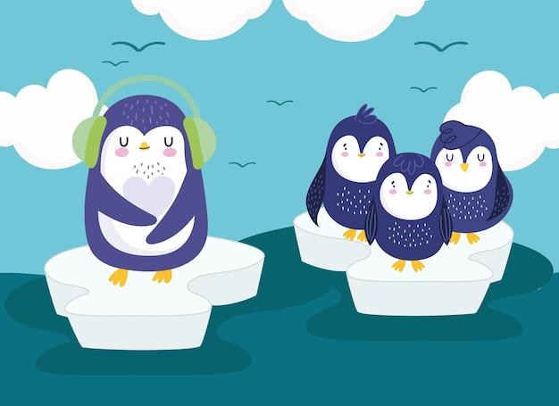 Pinguins, gelo, mar, gaivotas, céu