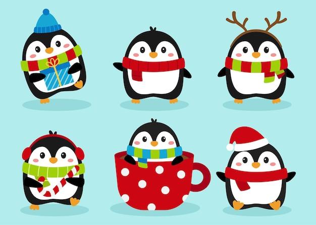 Pinguins - personagens de pinguins de natal em conjunto de inverno isolados em fundo azul