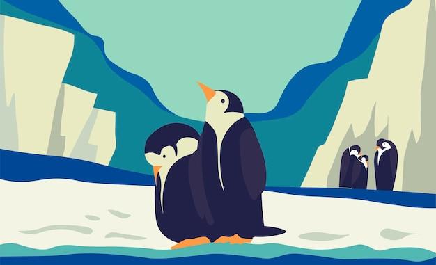 Pinguins polares no gelo, reserva do zoológico antártico