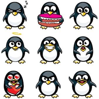 Pinguins sorridentes agrupados individualmente para facilitar o copiar e colar.
