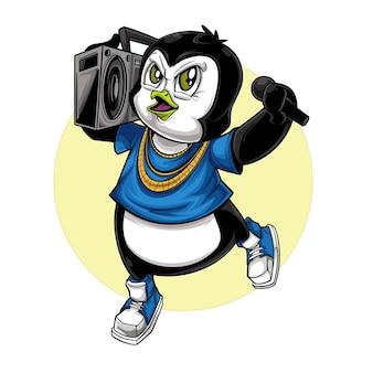 Pinguins tocando música e cantando hip hop de rua