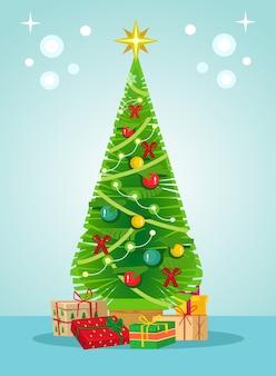 Pinheiro árvore verde de natal e caixas de presente