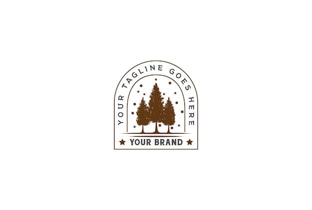 Pinheiro retro vintage cedro evergreen larch fir conifer trees forest para feliz natal logo design vector