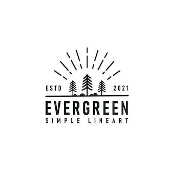 Pinheiro verde lariço pinus árvore floresta vintage retro moderno linha arte modelo de design de logotipo