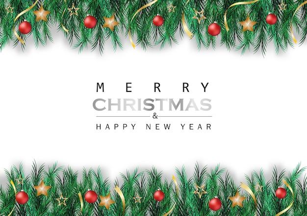 Pinheiro verde sai da fita da esfera da estrela em fundo branco com festival de natal
