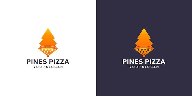 Pinheiros com logotipo de pizza