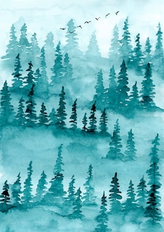 Pinheiros de floresta enevoada fundo aquarela